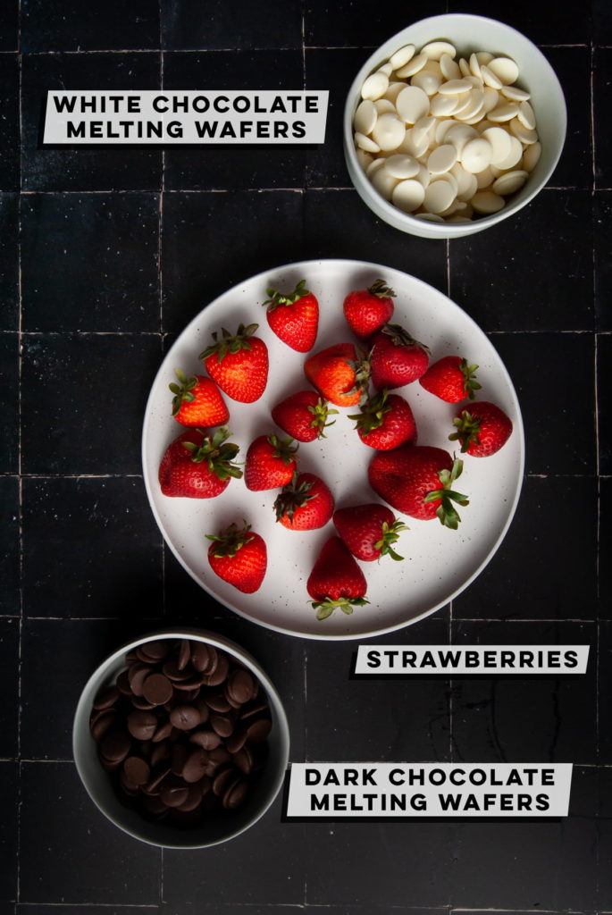 white chocolate melting wafers, strawberries, and dark chocolate melting wafers