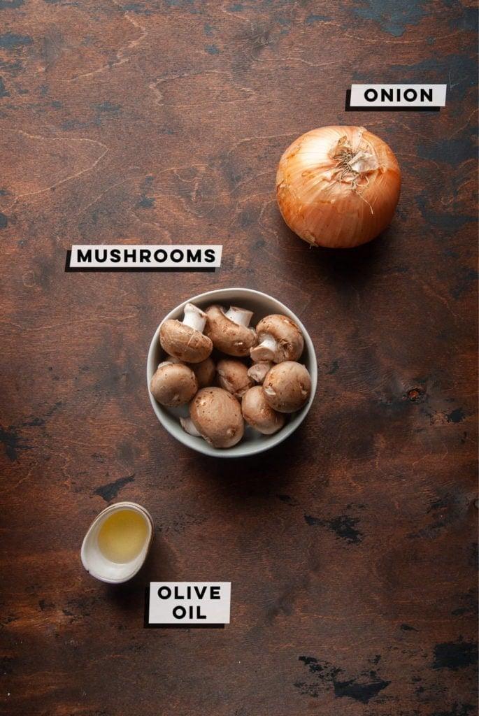 yellow onion, baby bella mushrooms, olive oil