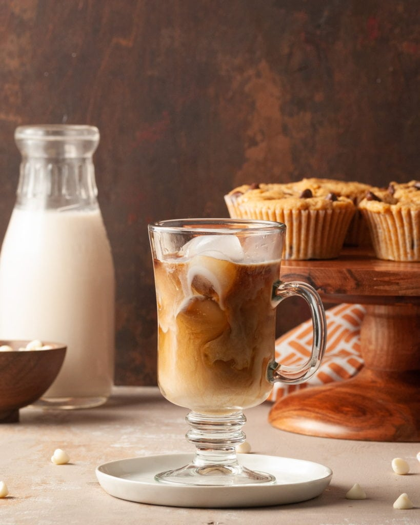 iced latte with milk and muffins in the background