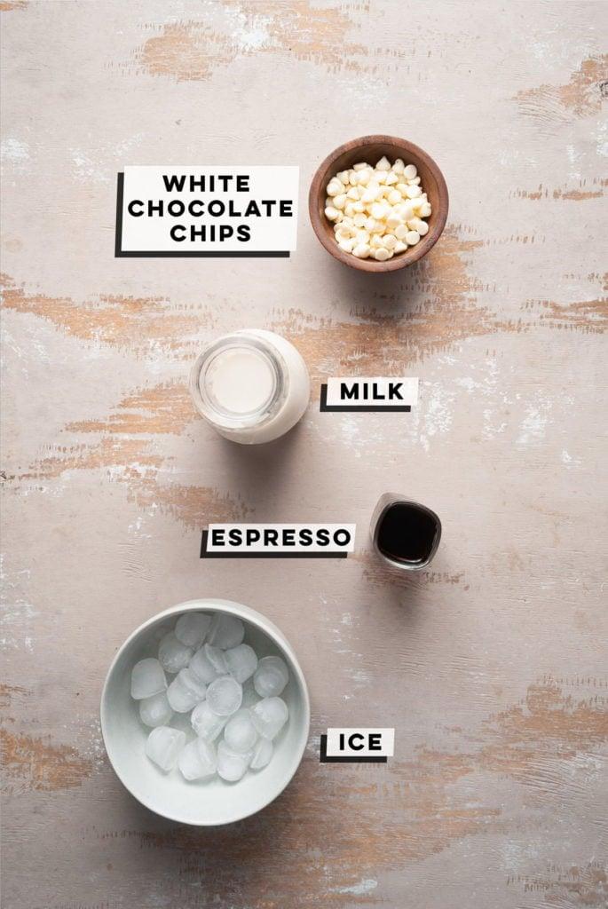 white chocolate chips, milk, espresso, and ice