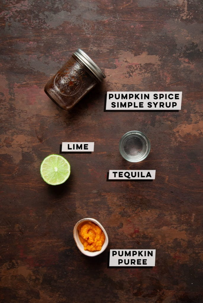 pumpkin spice simple syrup, lime, tequila, and pumpkin puree