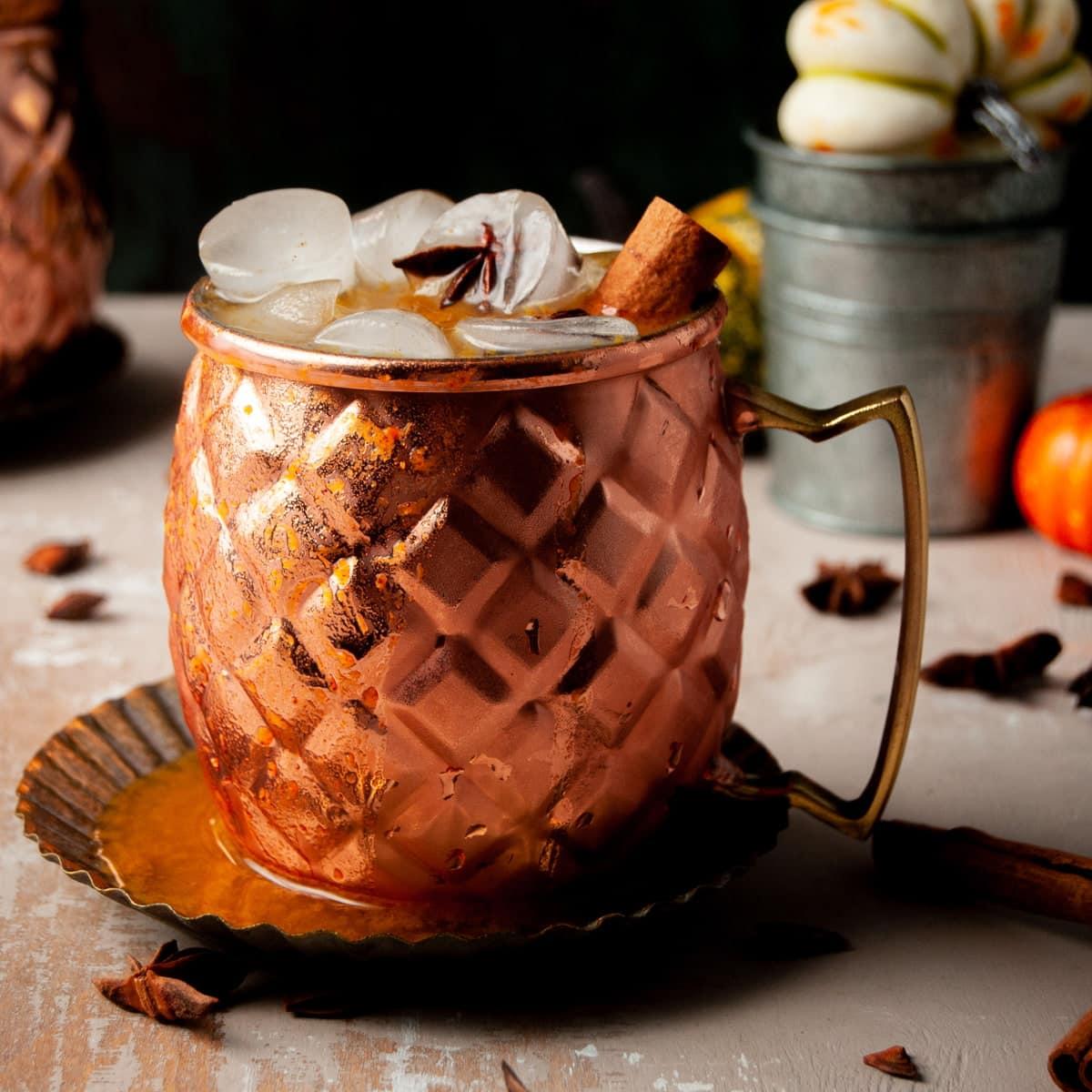 close up of pumpkin spice mule