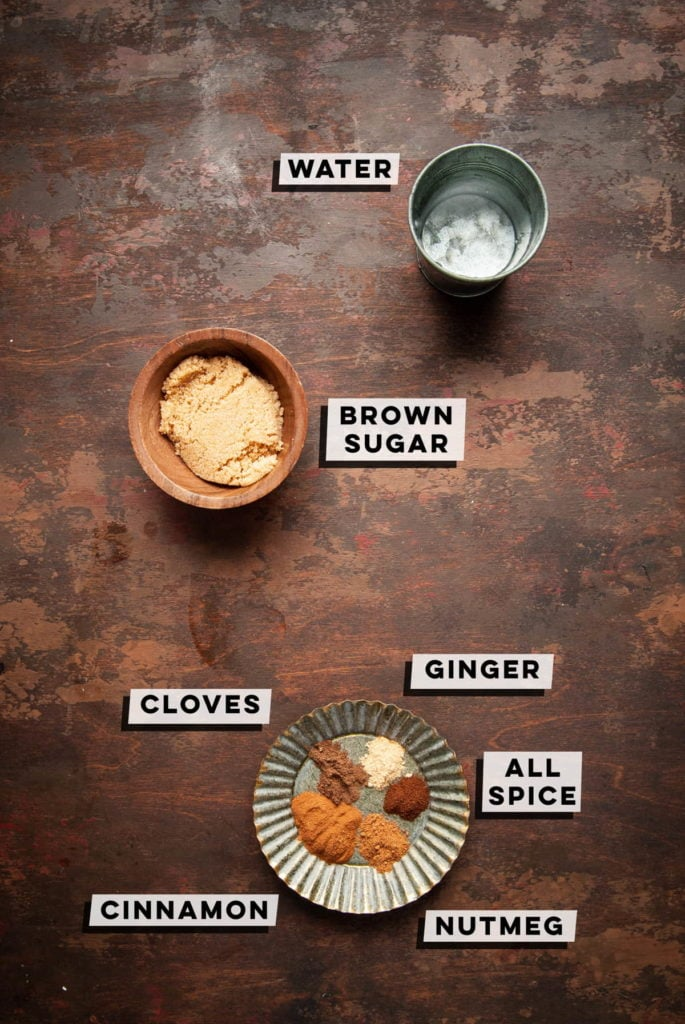 water, sugar, cloves, ginger, all-spice, nutmeg, and cinnamon