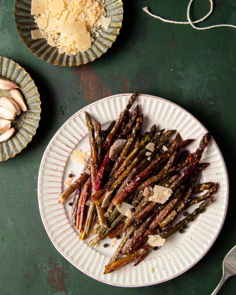 plate of roasted purple asparagus