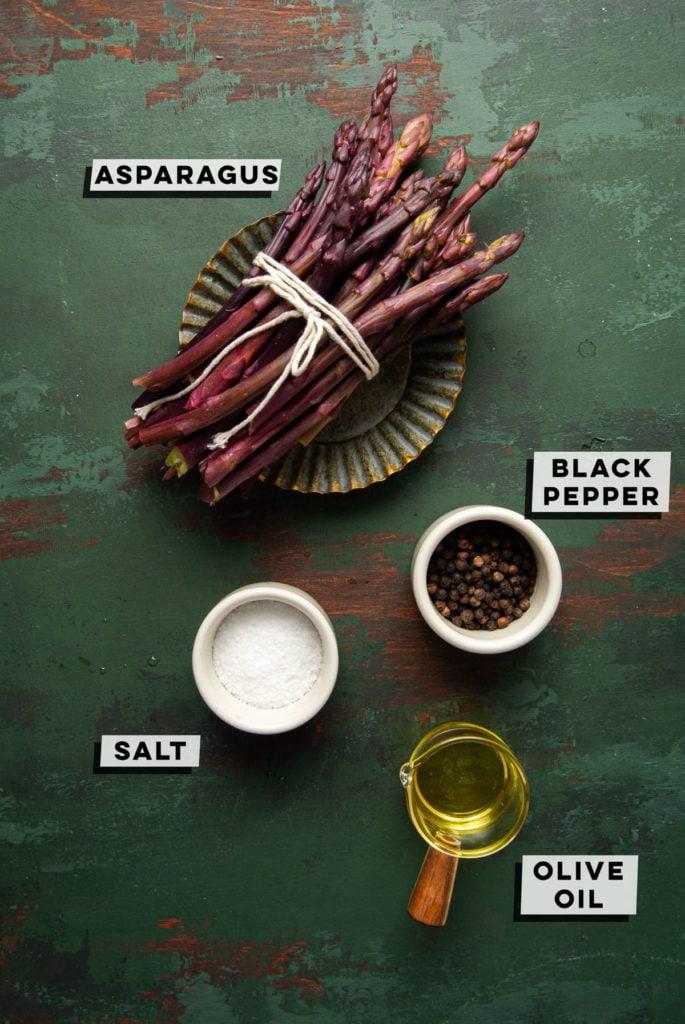 purple asparagus, black pepper, salt, and olive oil