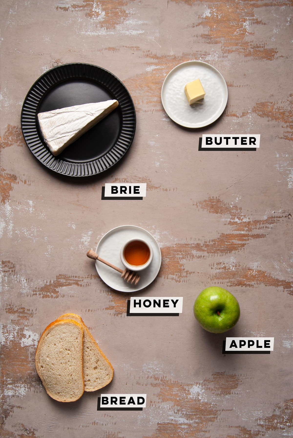 brie, butter, honey, apple, and bread