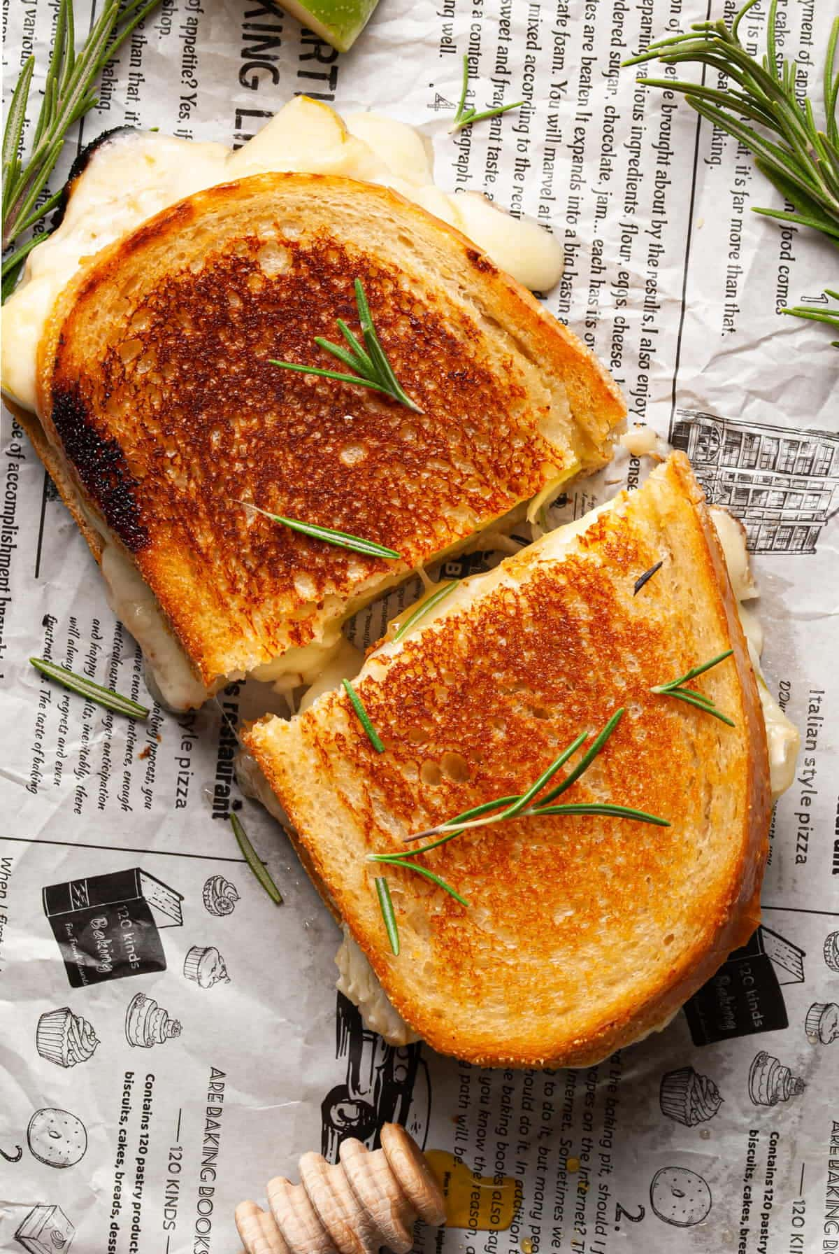Overhead shot of gooey brie grilled cheese