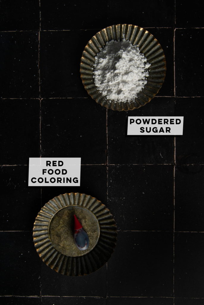 powdered sugar and red food coloring
