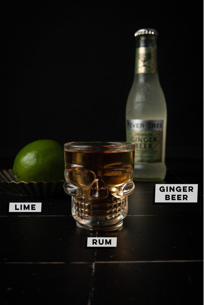 lime, rum, and ginger beer