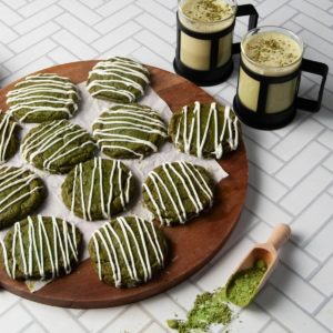 Matcha Cookies with White Chocolate Drizzle