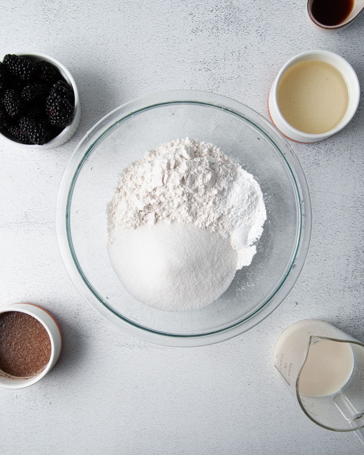 dry ingredients for muffin batter in a large mixing bowl