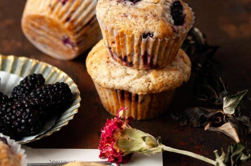 Fluffy Vegan Blackberry Muffins