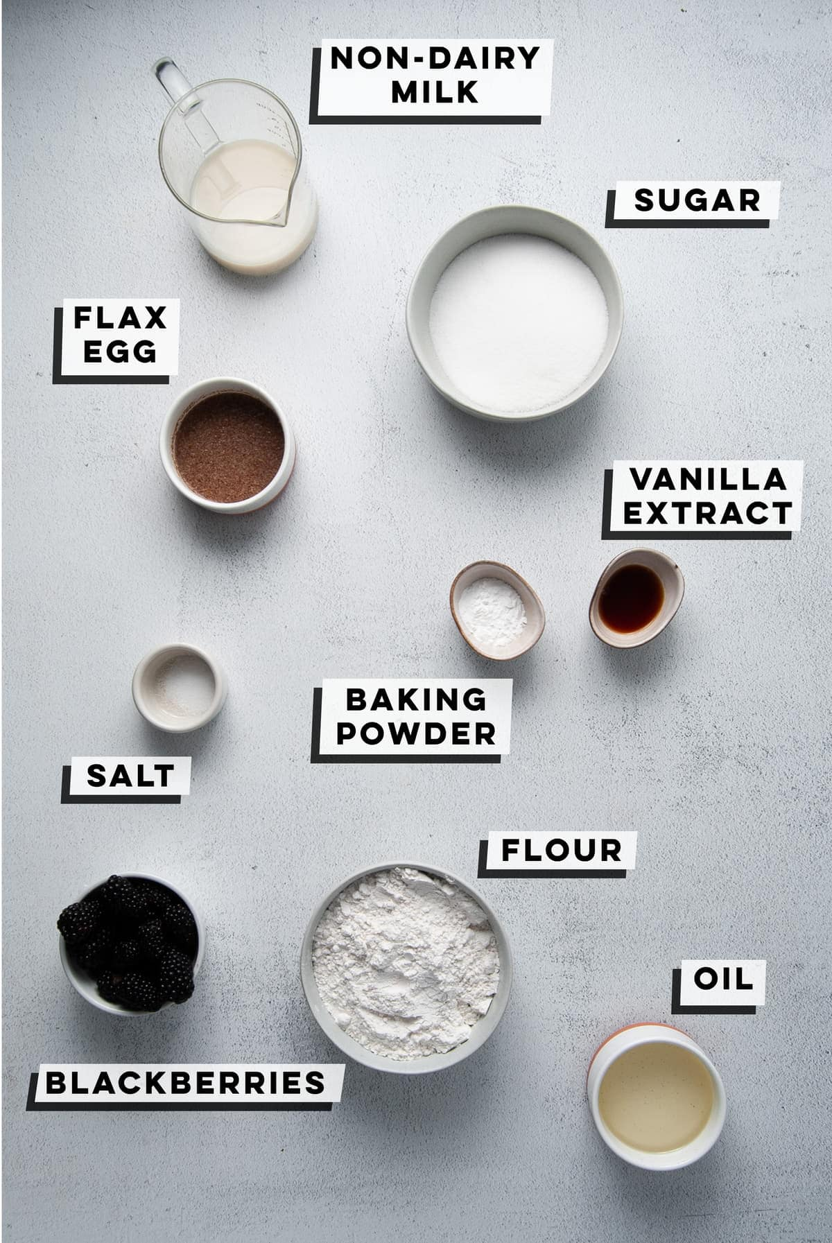 non-dairy milk, sugar, flax egg, baking powder, vanilla extract, salt, blackberries, flour, oil
