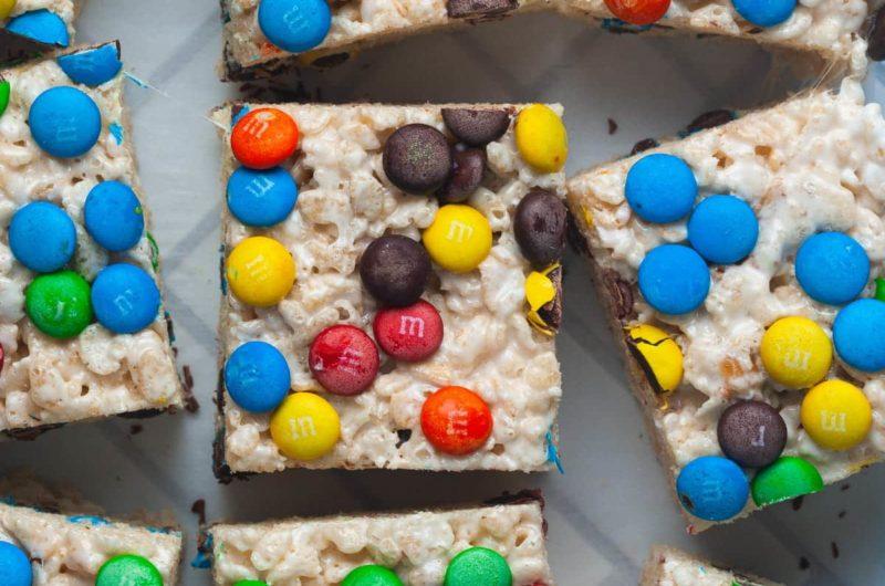 Colorful M&M Rice Krispie Treats