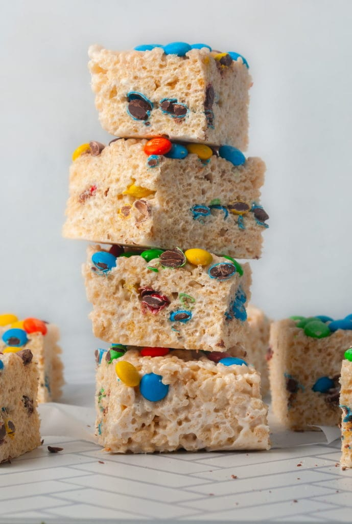 stack of colorful rice krispie treats