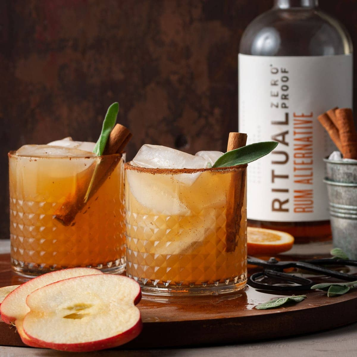 Apple Cider Spiced Rum Mocktail with Ritual Rum Alternative