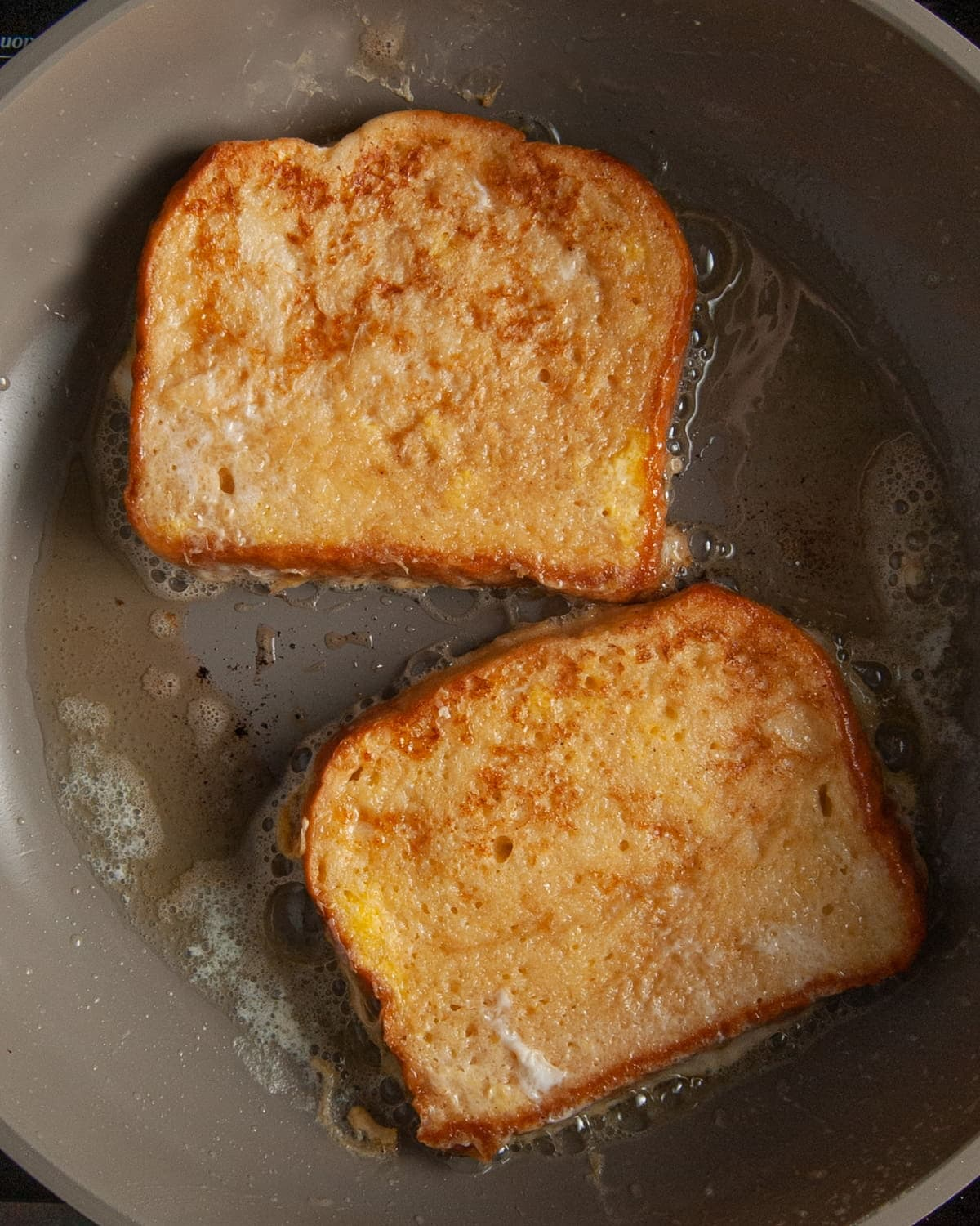 frying French toast in butter