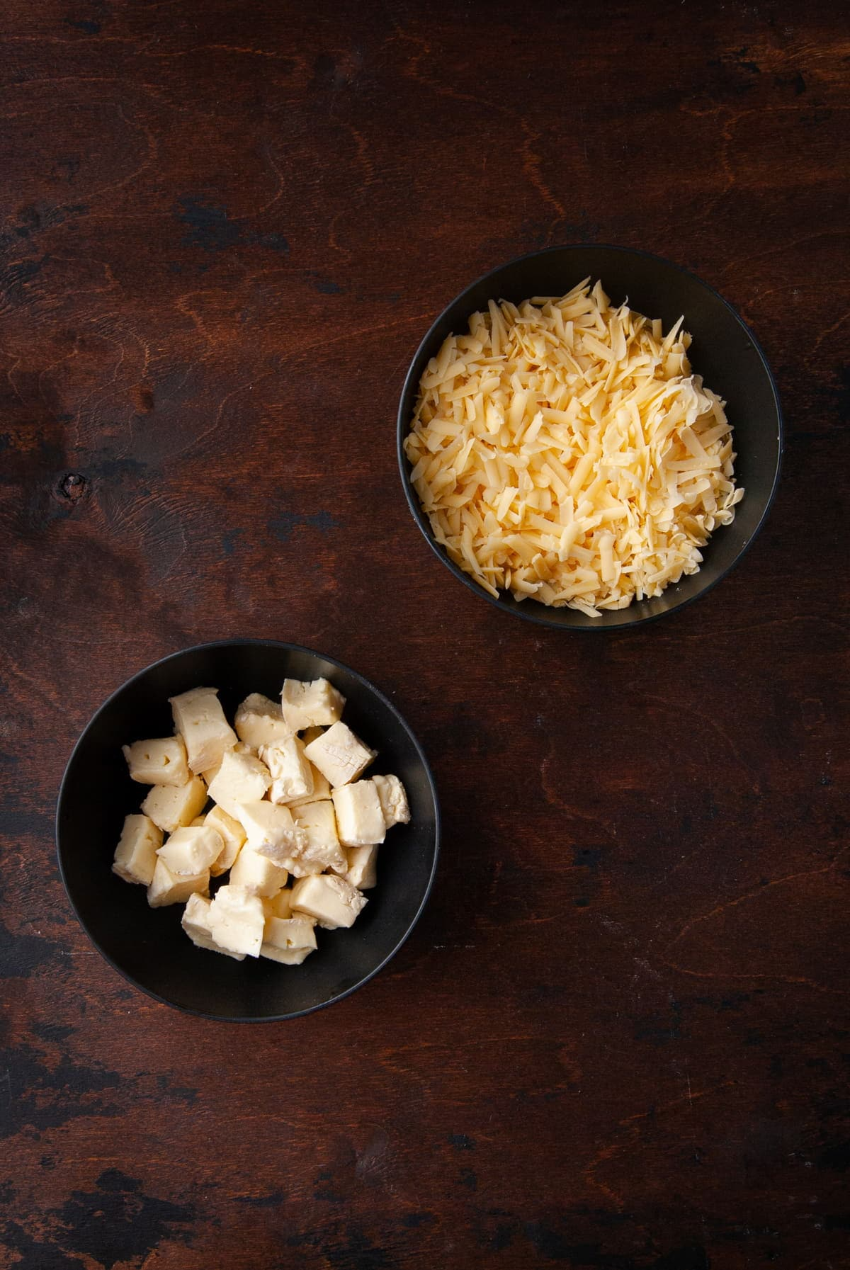 grated gouda and cubed brie