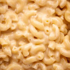 super closeup shot of creamy brie mac and cheese