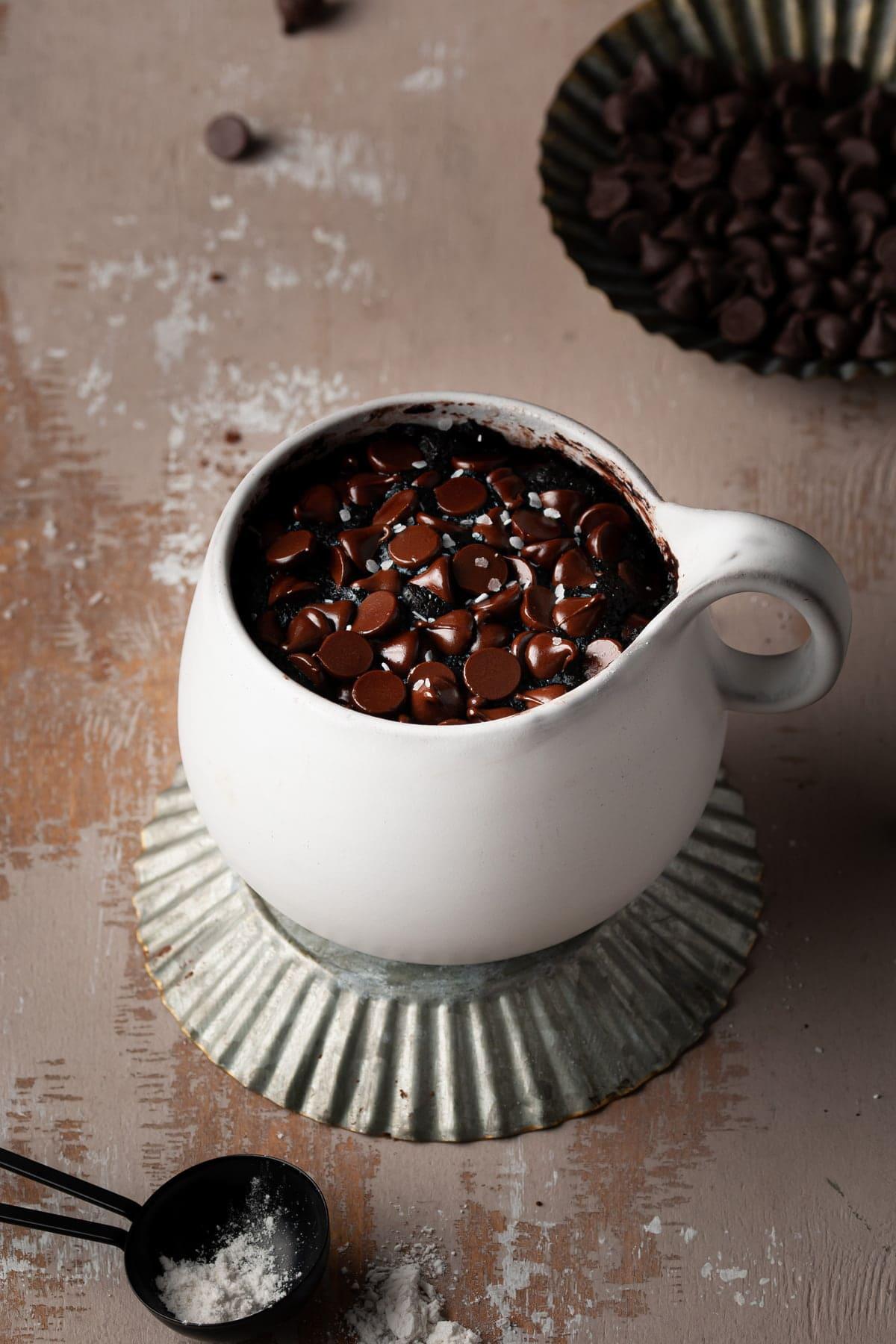 80-second fudgy vegan mug brownie with flaky sea salt