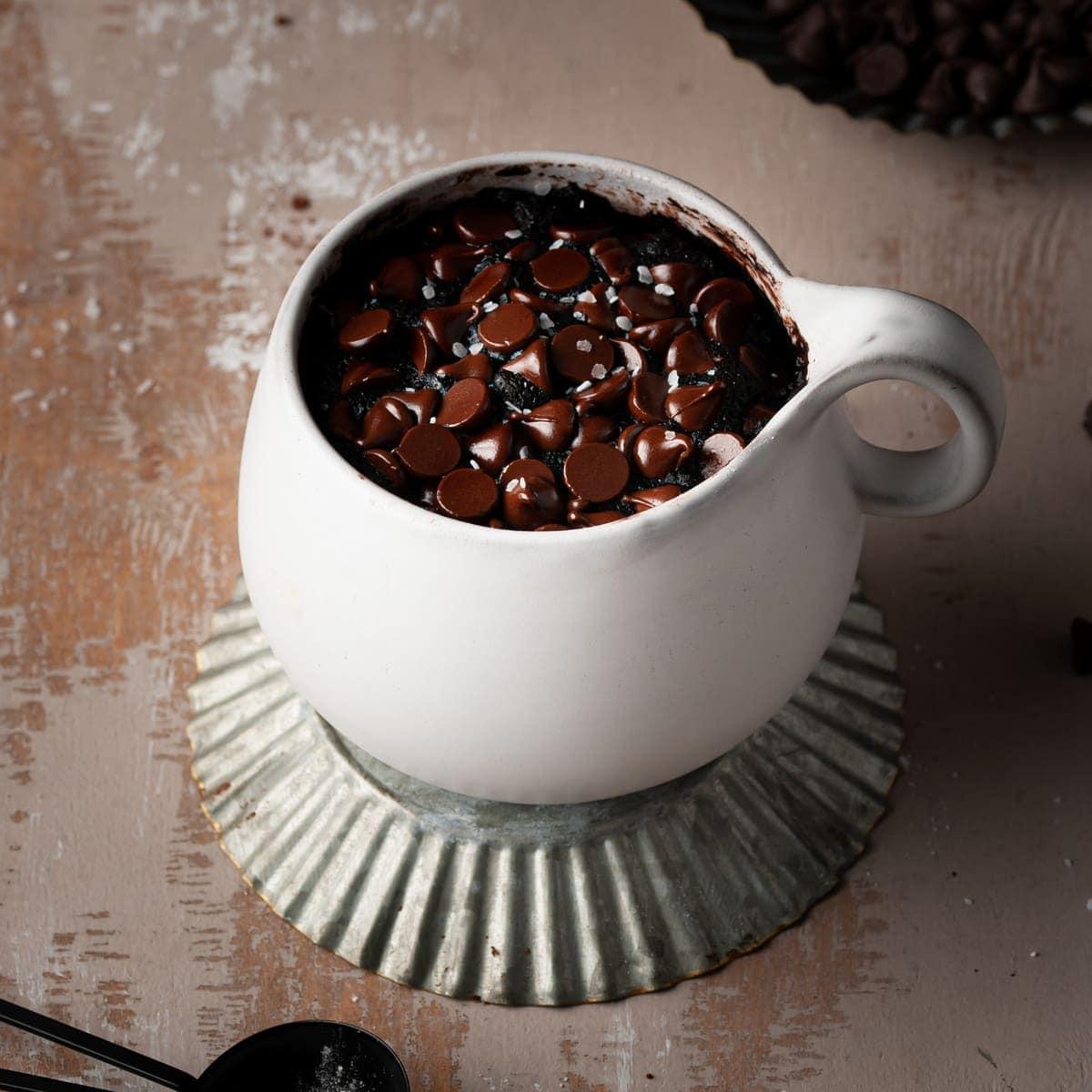 vegan mug brownie with flaky sea salt