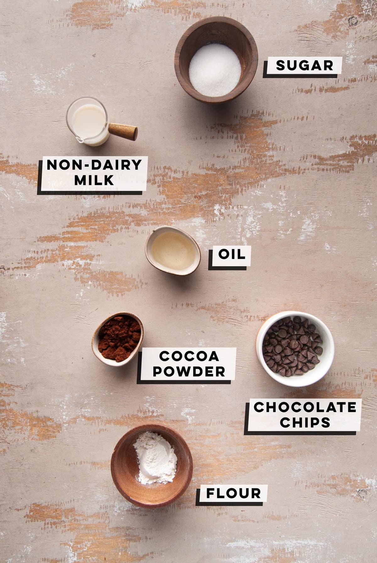 sugar, vanilla almond milk, oil, cocoa powder, chocolate chips, all-purpose flour